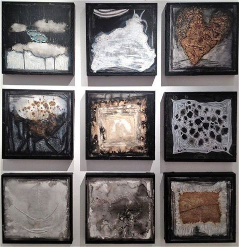Mixed media drawings/paintings on paper, mounted on wooden panels. 12x12 inches 2013 $350 each *Available 7/2013-8/2013 at www.artcubegallery.com  By, Amber Maida #art #mixedmedia #drawing #painting #coffee #texture #neutral #bw #abstract #ambermaida