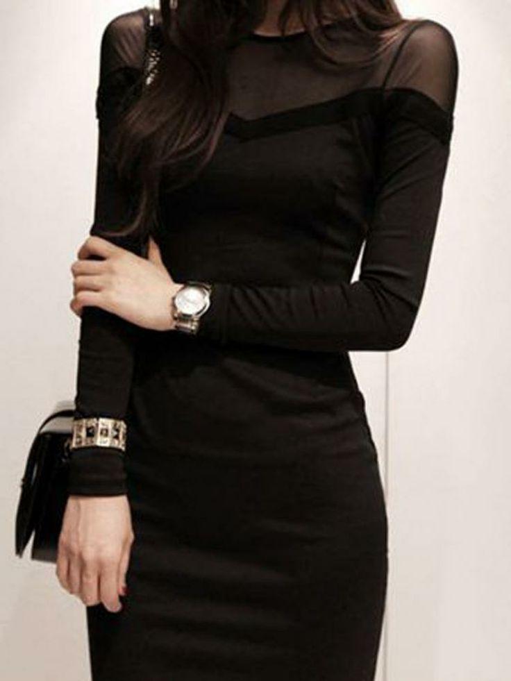 Black Bodycorn Dress Contrast Sheer Panel