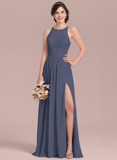 c78393eb26 A-Line Princess Scoop Neck Floor-Length Chiffon Lace Bridesmaid Dress With  Ruffle Split Front