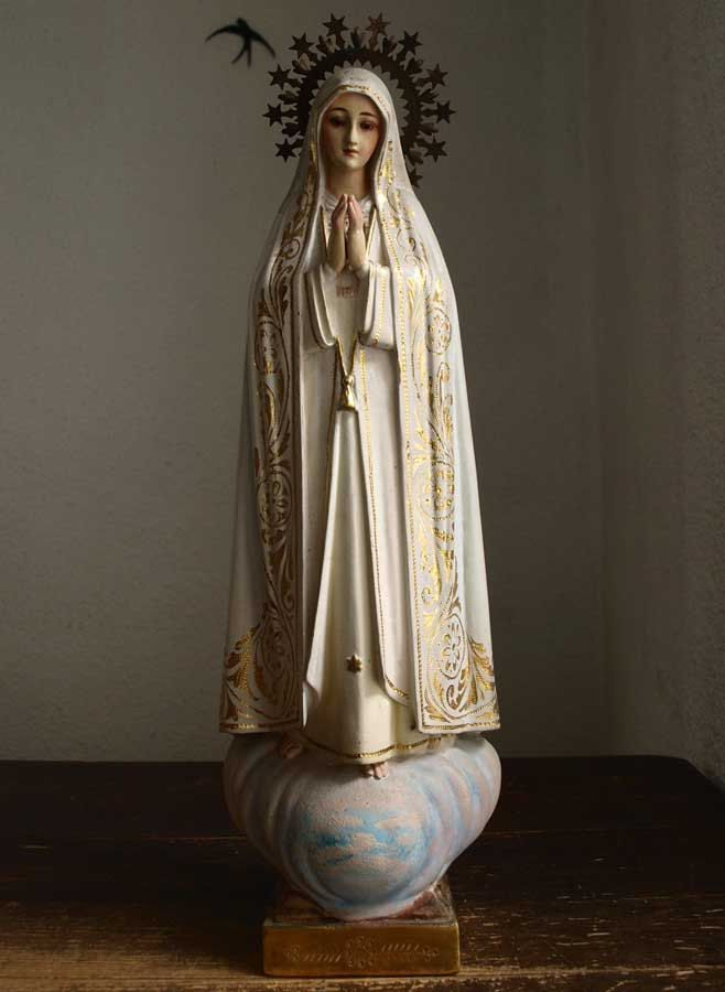 Etsy のOur Lady of Fátima the Holy Rosary of Fatima Glass eyes Virgin Mary Religious Statue Antique Art Spain/152(ショップ名:GliciniaANTIQUE)