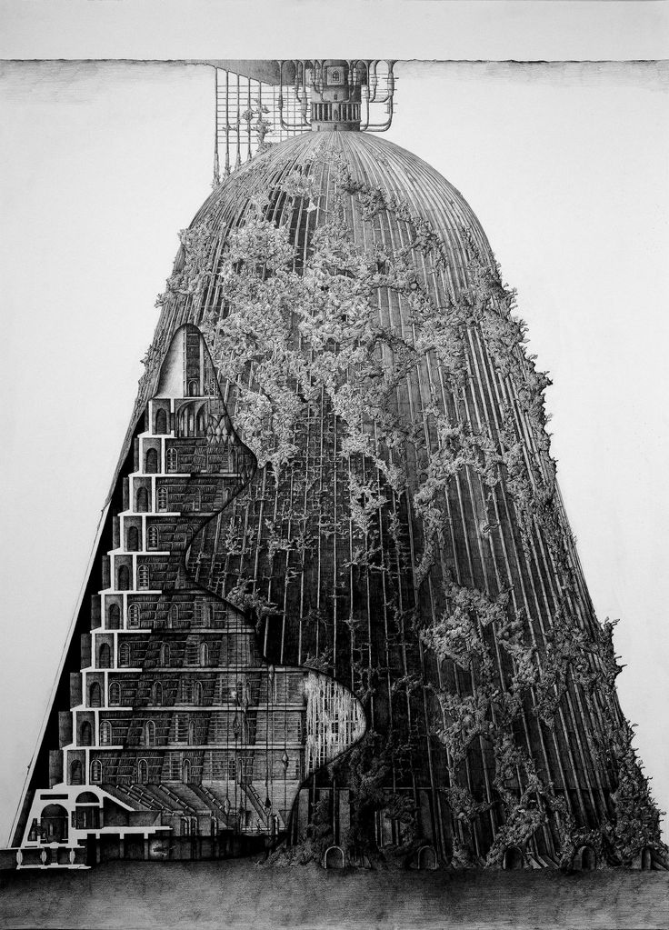 The Reef of Silence Underwater Columbarium & Decompositorium Section and Elevation - Pencil Drawing 840 x 1140(mm) Yunil Nam, Unit 18, MArch Architecture Part II, University of Greenwich