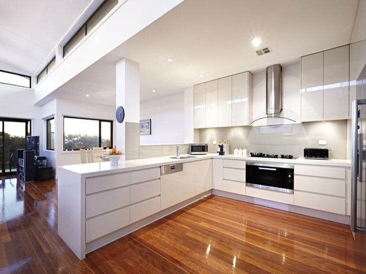 Modern open plan kitchen design using floorboards - Kitchen Photo 8931729