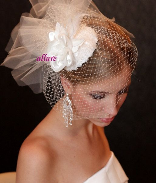 BIRD CAGE VEIL Bridal hat with birdcage veil and lace by klaxonek, $169.00