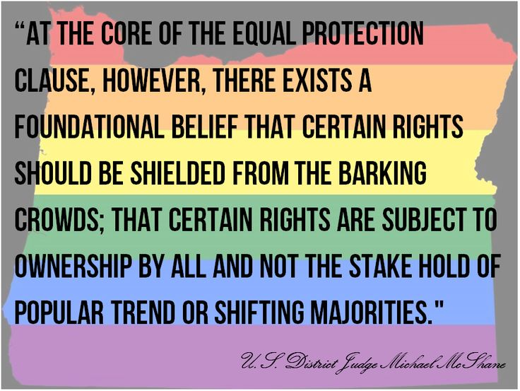 """The Equal Protection Clause """"certain rights should be shielded from the barking crowds"""" U.S. District Judge Michael McShane ."""