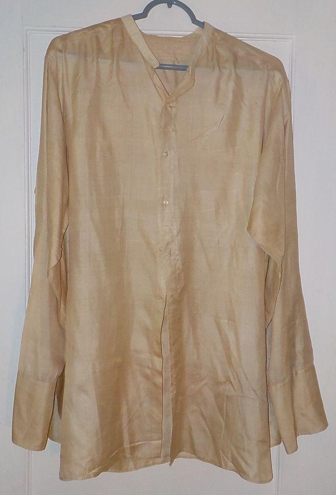 Vintage Antique Men's 1900's Silk Beige Band Collar French Cuff Dress Shirt #Unbranded