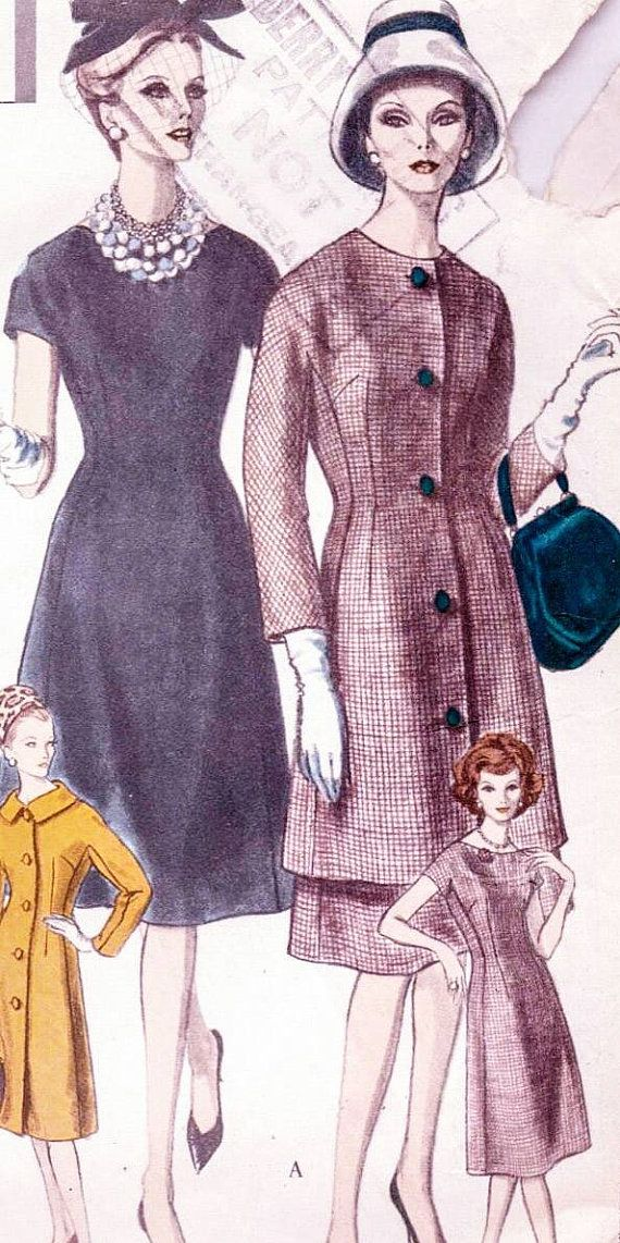 Vogue special design pattern 4133. Bust 36 inches. Early 1960s dress. Smart day dress and coat, 2 piece suit pattern. Vintage sewing pattern