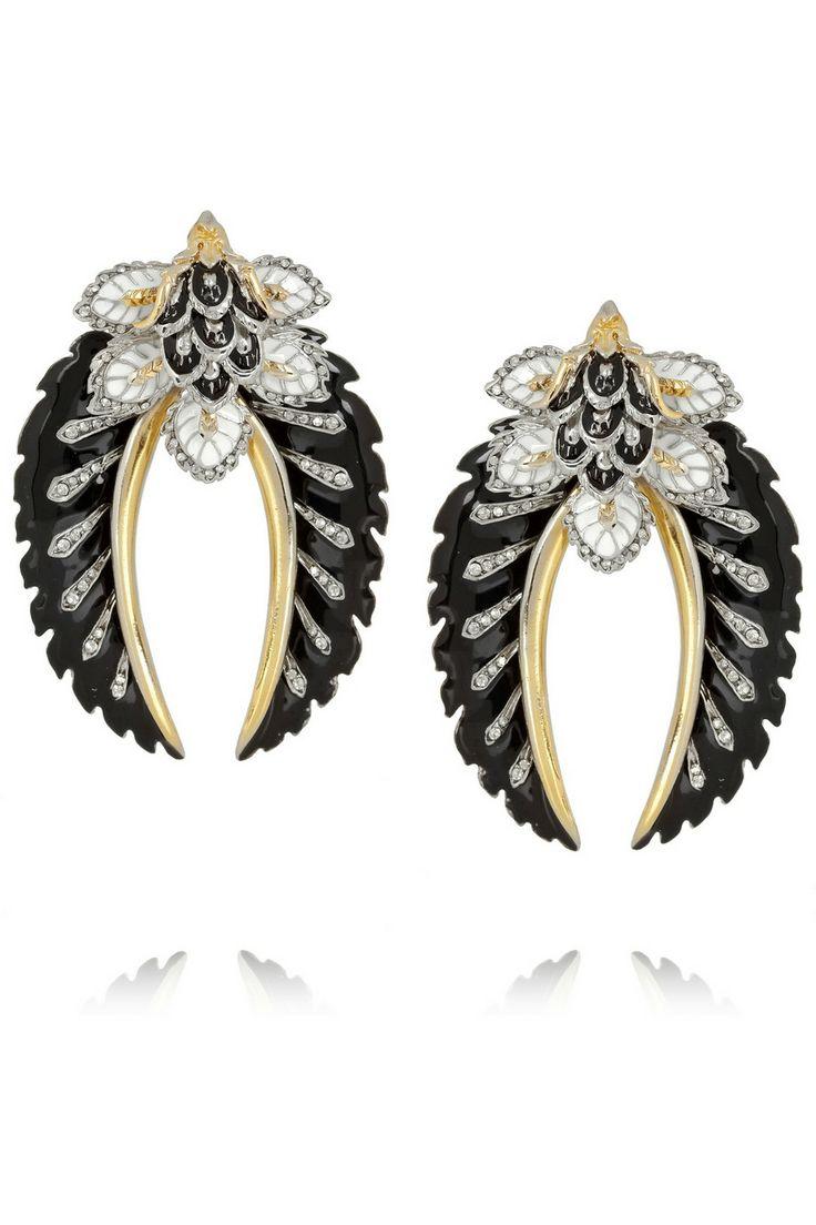 Roberto Cavalli Indian Flower Enameled Swarovski Crystal Clip Earrings