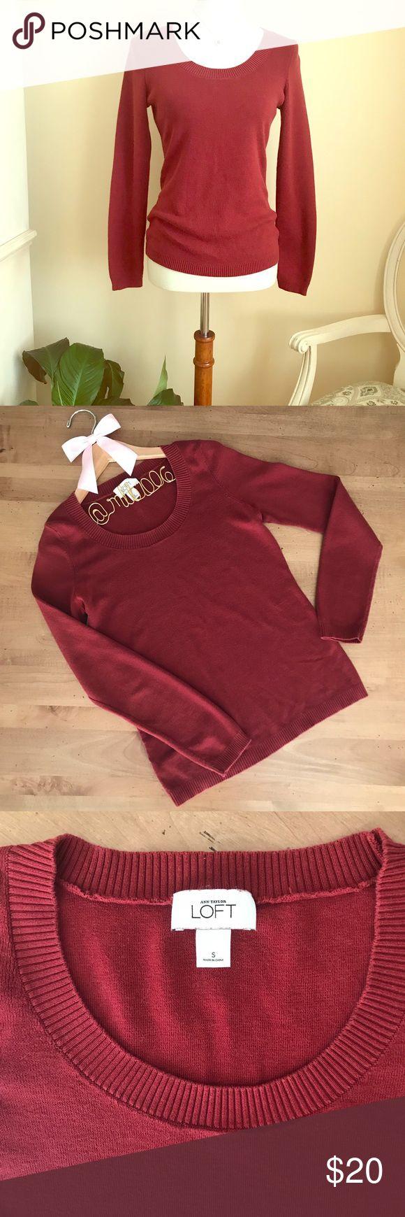 Anne Taylor LOFT Scoop Neck Burgundy Sweater Anne Taylor LOFT Scoop Neck Burgundy Sweater. 100% Pima Cotton. EUC. LOFT Sweaters Crew & Scoop Necks