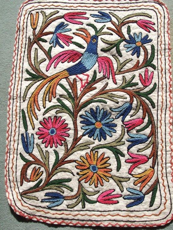 Small Wool Kashmiri Embroidered Namda Kilim Rug Mat
