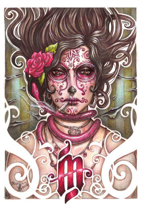 Catrina Colorada Medusa Dollmaker Dia De Los Muertos