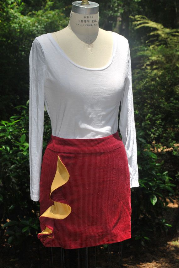 Garnet colored corduroy skirt with asymmetrical ruffle by RysaRuth
