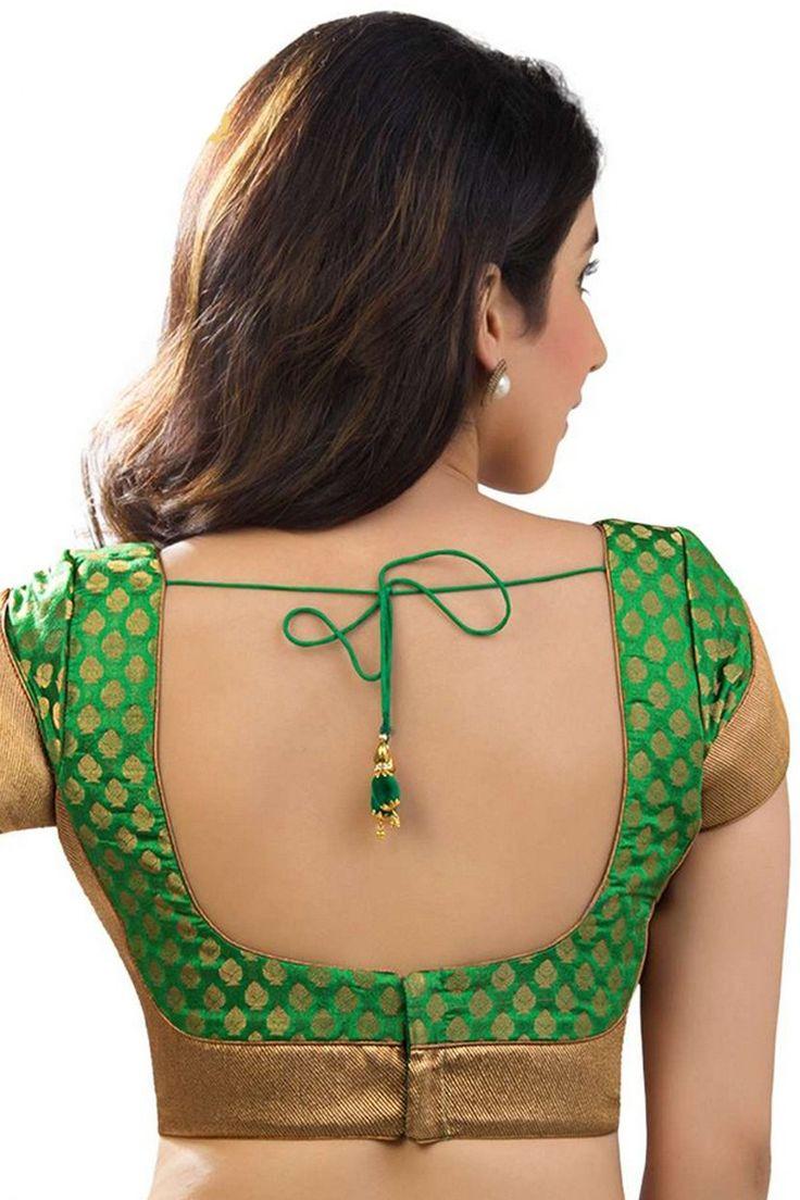 #Green & antique #gold festive wear banarasi brocade blouse with #lovely…