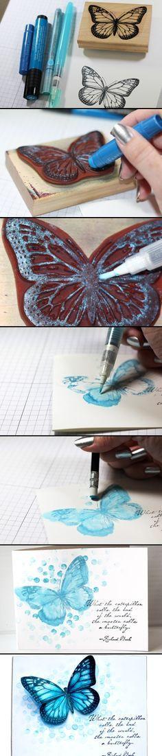 Butterfly bokeh stamp technique via Splitcoaststampers | using gelato's ( with video tutorial)