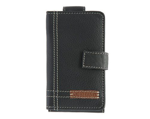 Soft leather wallet in a gift box. Flip cover phone holder, takes smartphones up to 13cm tall. You can use your phone as normal without having to remove from protective case. Clasp on the font. Features full sized note slot with 6 card slots. Unfolded size 13 x 15cm. Leather.