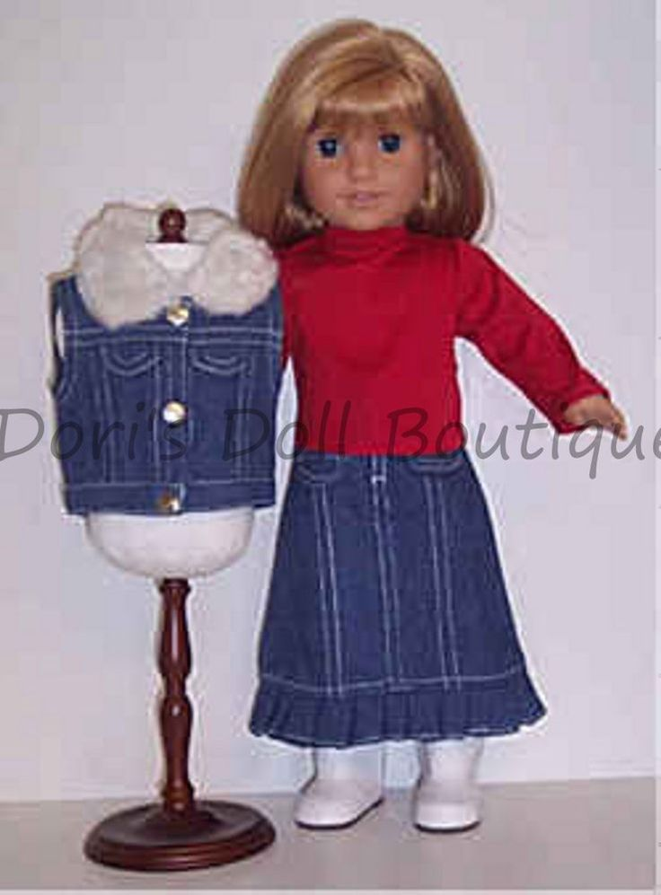 DENIM SKIRT, VEST, &  RED TOP Doll Clothes made for 18 inch American Girl