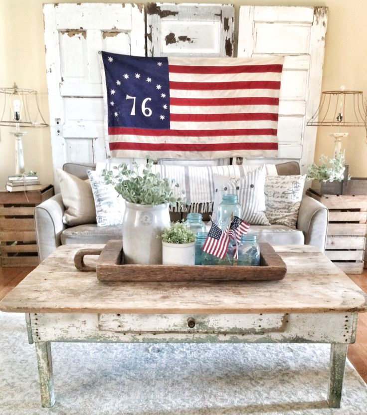 Fourth Of July Decor In Farmhouse Living Room