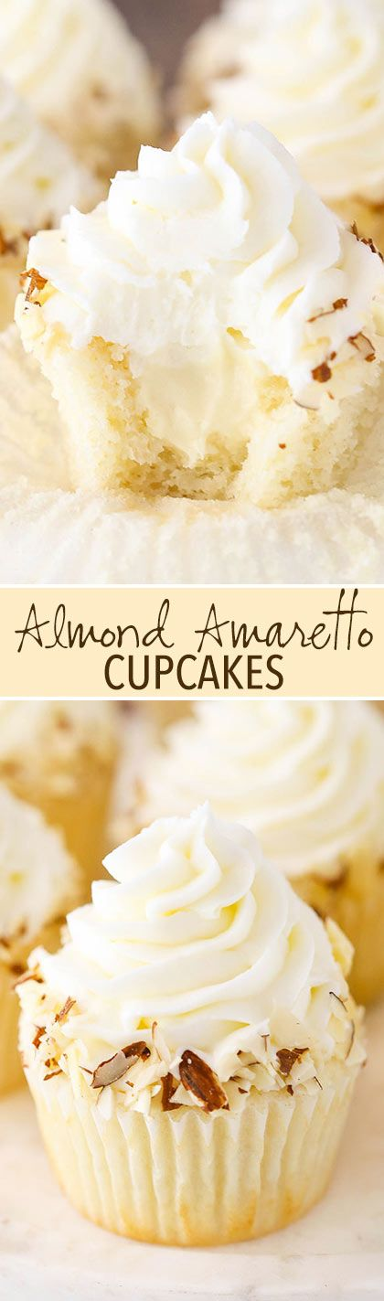 Almond Amaretto Cupcakes - almond cupcakes and frosting with a whipped amaretto filling! So good!