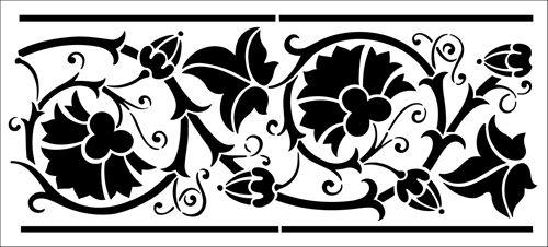 Border No 17 stencil from The Stencil Library OTTOMAN range. Buy stencils online. Stencil code OTT18.