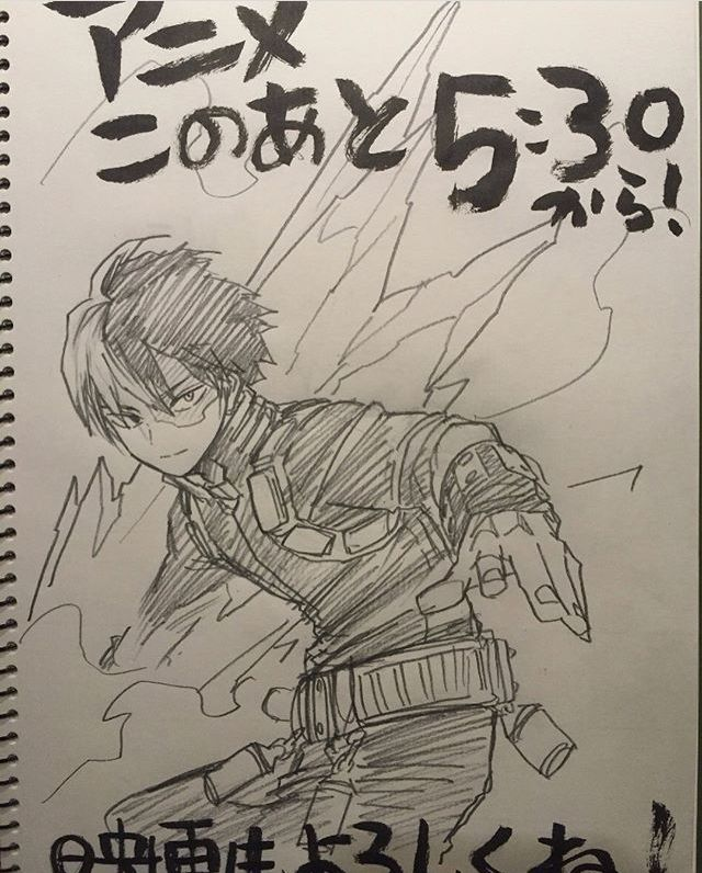Todoroki Shouto Bnha Horikoshi Art Sketches Hero My