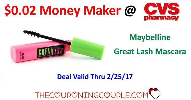 Make sure you don't miss out on this $0.02 Maybelline Mascara Money Maker. That is starting Today 2/19 @ CVS.  Click the link below to get all of the details ► http://www.thecouponingcouple.com/maybelline/ #Coupons #Couponing #CouponCommunity  Visit us at http://www.thecouponingcouple.com for more great posts!