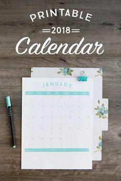 2018 printable simple calendar