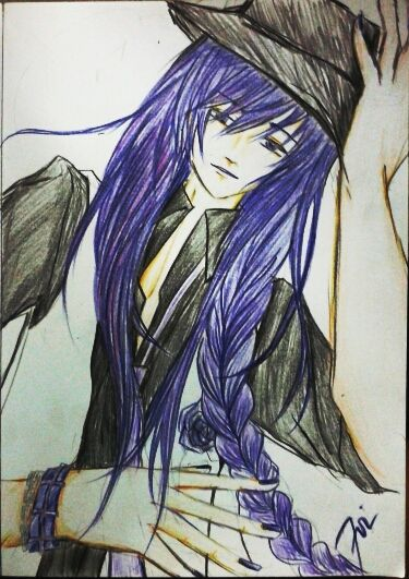 #fanart #drawing for #Kamui #Gakupo of #Vocaloid version #Camellia #purple #haired by 7oi