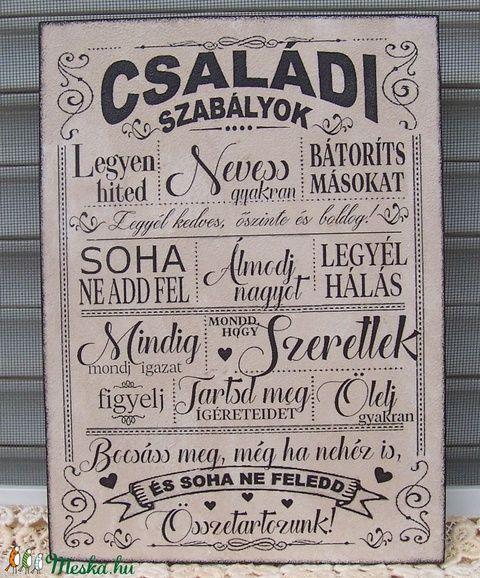 """""""Családi szabályok..."""" szöveges falikép, táblakép (vintagedesign) - Meska.hu"""