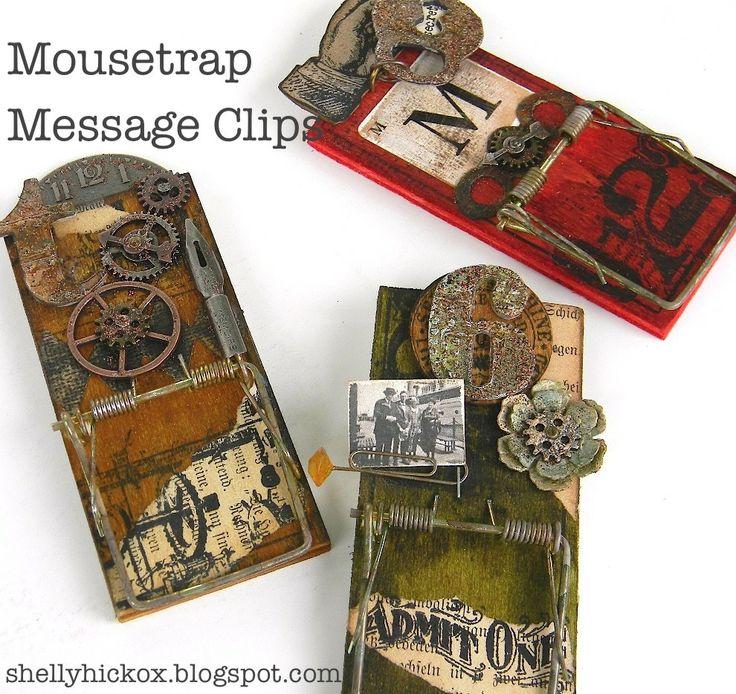 Stamptramp: Mousetrap Message ClipCrafts Ideas, Messages Clips, Mouse Trap, Crafty, Mousetrap Messages, Mousetrap Memo, Altered Art, Steampunk, Altered Mousetrap