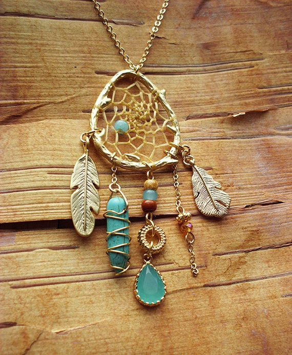 Couture Gold Birds Nest Dreamcatcher Necklace by PurpleFinchStore