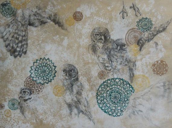 Parliament  Original Artwork of Burrowing Owls by TurnOfPhrase, $250.00