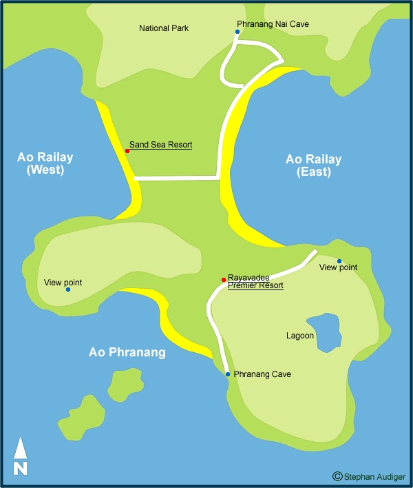 Railay Beach Map - Krabi Maps