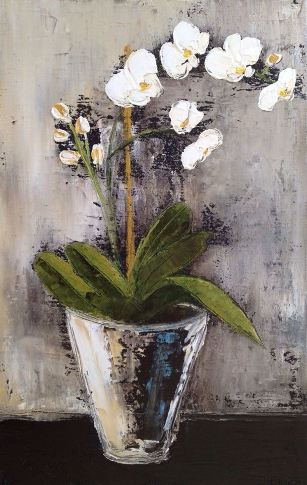 Orgidieës oral in my huis asb. White Orchid 1 250mmx350mmx20mm Oil on canvas Available
