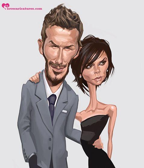 Caricatura de David y Victoria Beckham