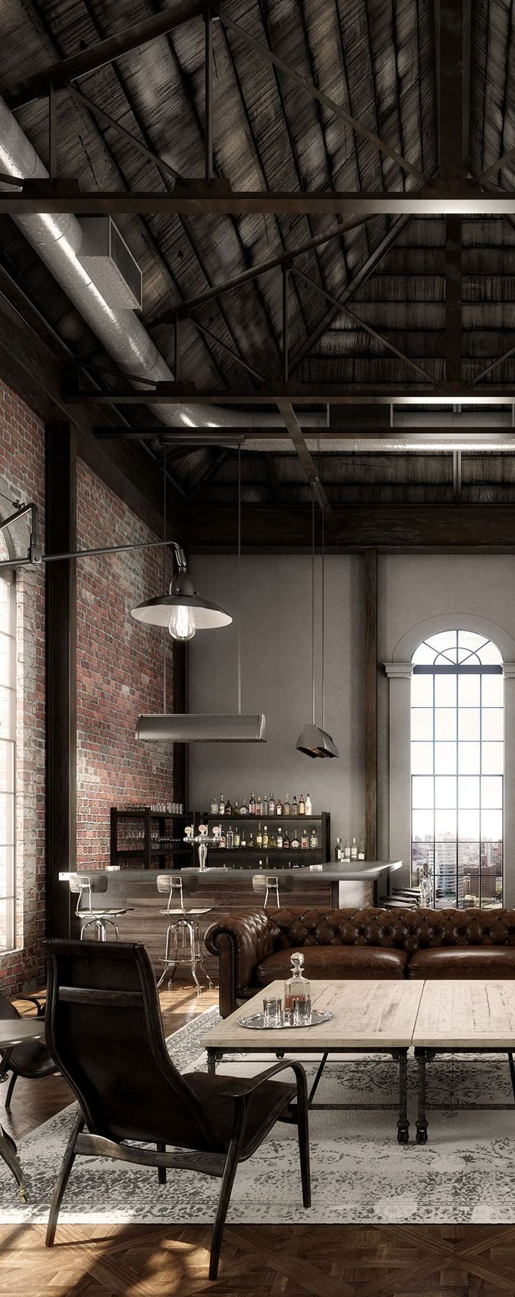 Looking for interior design ideas for your living room decor? Take a look at this industrial living room with an industrial style | www.livingroomideas.eu