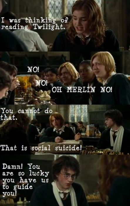 Social suicide! Potter-Mean Girls-Twilight. What more could you want?