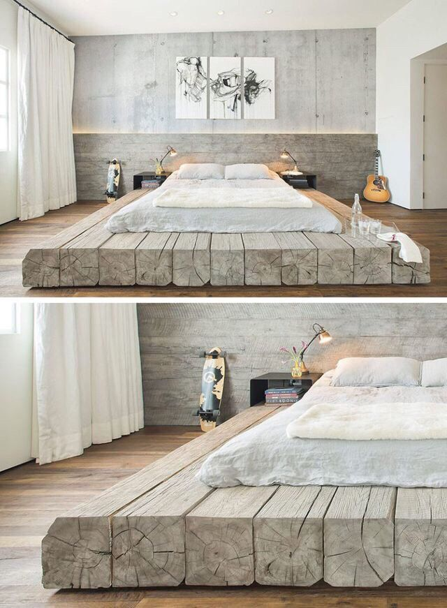 BEDROOM DESIGN IDEA   Place Your Bed On A Raised Platform    This bed  sitting on platform made of reclaimed logs adds a rustic yet contemporary  feel to the. 25  best ideas about Wooden Bedroom on Pinterest   Bedroom inspo