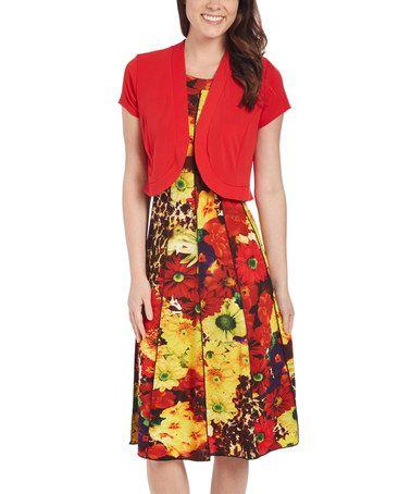 Look what I found on #zulily! Orange Floral Sleeveless Dress & Bolero Jacket #zulilyfinds