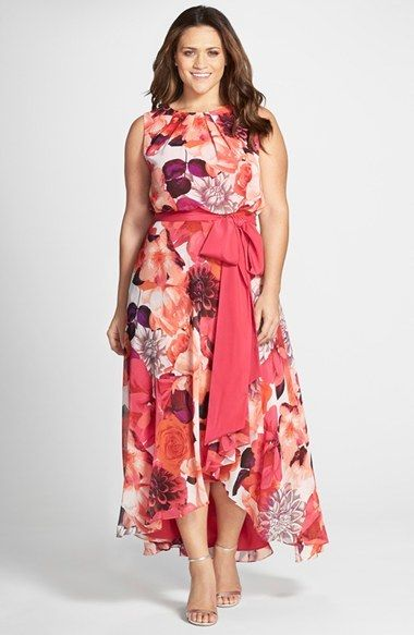 Plus Size Sash Tie Sleeveless High/Low Hem Maxi Dress - Plus Size Maxi Dress