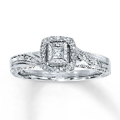 the most perfect promise ring !!!!!!! Diamond Ring 1/6 ct tw Princess-cut Sterling Silver