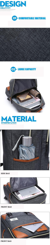 Men Women Nylon Waterproof Business Laptop Backpack