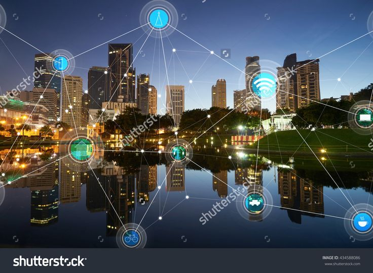 Smart City And Wireless Communication Network, Abstract Image Visual, Internet Of Things Stockfoto 434588086 : Shutterstock