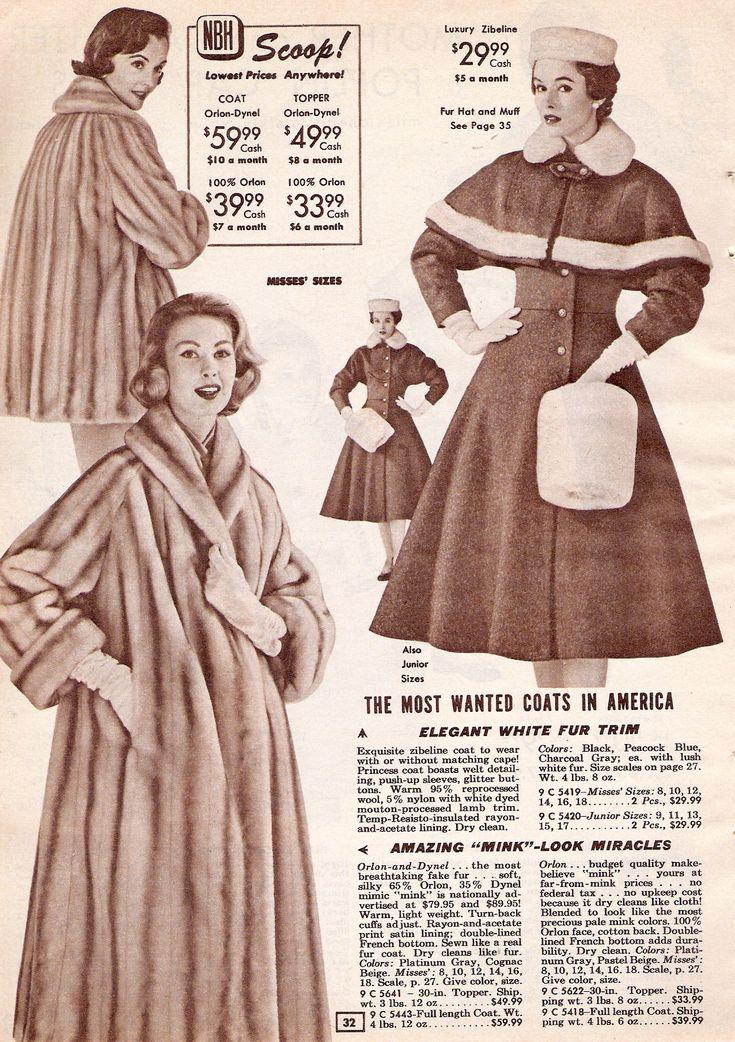 1950s coat and hand muff