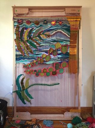 "My current work in progress (4'10"" tall) : weaving"