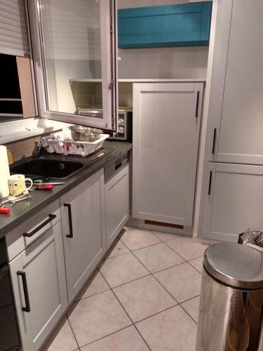 Customer White Kitchen Design With Probrico Black Square Cabinet Door Pull 7 9 16 192mm Hole Centers Handles