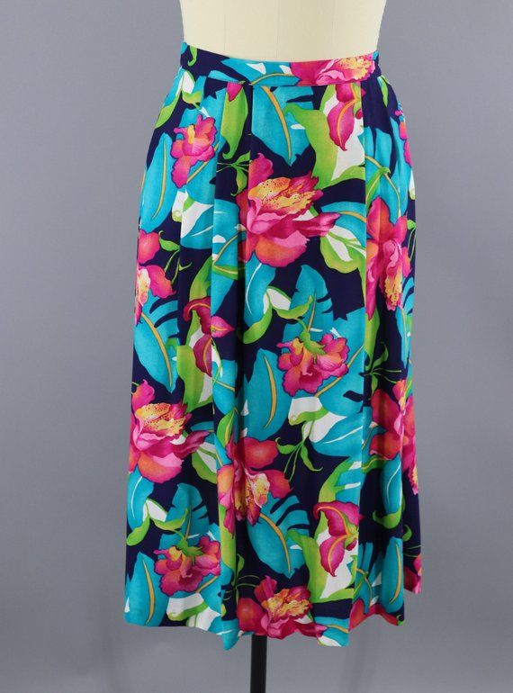 73eeebb994 Vintage 1980s Tropical Hawaiian Print Skirt / 80s Midi Skirt / Aqua Pink  Orchids Floral Print / Lucia / Summer / Size L XL 14 #FloralPrintSkirt  #1980sSkirt ...