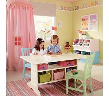 Girls playroom- table ~yellow wall color for basement bedroom/playroom