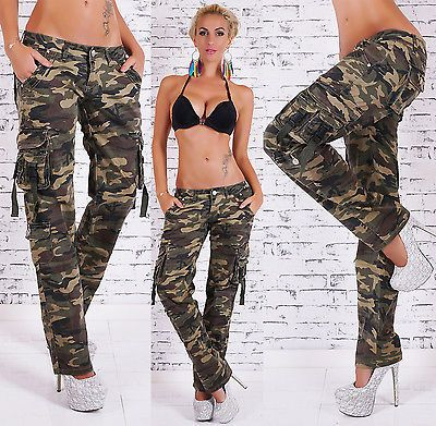 27561b0121578 Details about Women's Slim Skinny Camouflage Cargo Pant - S / M / L ...
