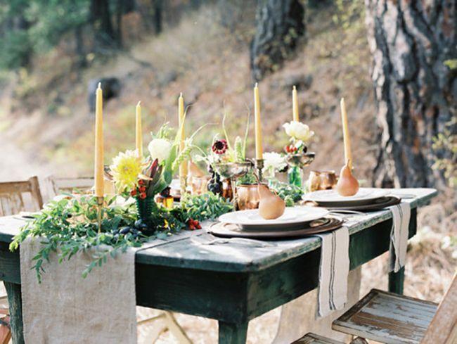 Mesa de casamento ideal para cerimónias no Outono.
