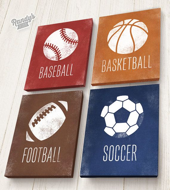 Boys Room Decor Sports, On Stretched Canvas, Basketball, Baseball, Soccer, Football, Set of 4, Pick Your Colors