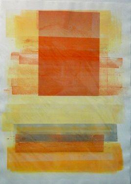 Monotype 30x22 Study in ornage and yellow, original work by emmanuelle renard www.emmanuellerenard.com
